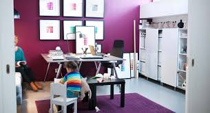ikea bedroom office. Beautiful Ikea Office Ideas Using Desk With Black Chair And Purple Wall Color Plus Area Rug Bedroom