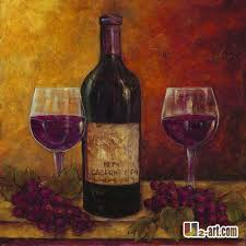 abstract wine bottle and wine glass painting - Google Search
