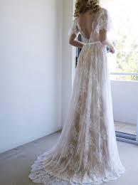 boho dresses wedding. A Line V Neck Sweep Train Light Champagne Lace Boho Wedding Dress