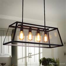 loft pendant lamp retro american black iron glass rectangular chandelier light living room dining room light bar lamp 1 4 head modern