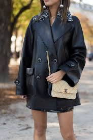 aimee of style paris chanel coat chanel bag jw anderson earrings aimee of style paris chanel leather coat jw anderson earrings