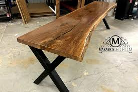 live edge sofa table behind couch table