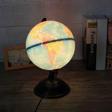8 Inch 110v Led World Map Globe Night Light Home Office Room Desktop Decor Lamp Kids Gift