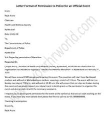 Permission Letters Template Police Permission Letter For Official Event Hr Letter Formats