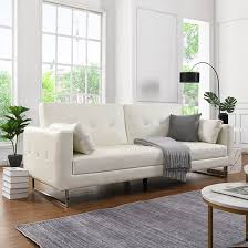 paris faux leather 3 seater sofa bed in