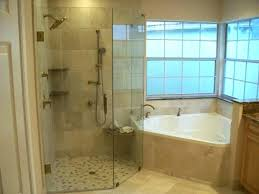 ceramic tile shower ideas small corner white bathtub and brown tiled wall panel with glass trim