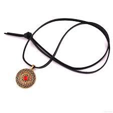 whole zh13 fashion knot pentacle pendant solid background pentagram rhinestone choice pendant leather chain necklace blue pendant necklace costume