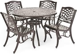 Christopher Knight Home Hallandale Outdoor Cast Aluminum Dining Set For Patio Or Deck 5 Pcs Set Black Garden Outdoor