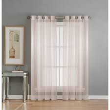 window elements sheer diamond sheer voile white grommet extra wide curtain panel 56 in