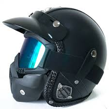 details about size xl harley motorcycle helmet vintage leather handmade w face mask flat black