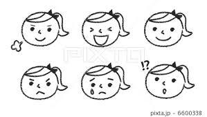 表情女の子手描き風黒のイラスト素材 6600338 Pixta