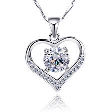 fashion 925 sterling silver white crystal heart pendant necklace women s jewelry