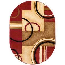 barclay arcs and shapes red 7 ft x 10 ft oval area rug