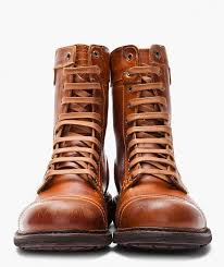 sel scuffed leather cassidy combat boots in tan