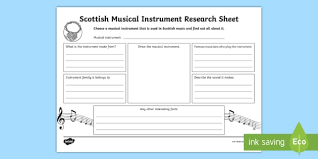 In principle, any object that produces sound can be a musical instrument—it is through purpose that the object becomes a musical instrument. Scottish Musical Instrument Research Worksheet Worksheet