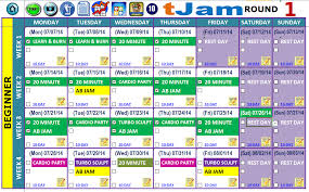 excel workout tools turbo jam working calendar