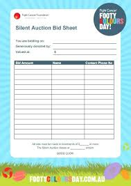 Sample Bid Sheets For Silent Auction Construction Bid Sheet Template And Silent Auction Form How To Make