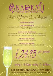 New Year Menu New Years Eve Menu Indian Restaurant And Takeaway Anar