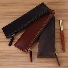 3 colors antique handmade leather fountain pen pouch zippered pencil pen case