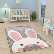 childrens animal rug grey white pink nursery carpet baby room kids bunny mat new