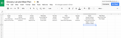 Meal Planning Sheets How I Use Google Sheets For Grocery Shopping And Meal Planning