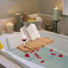 homcom bathtub caddy shelf bath tub holder bathroom tray wine book rack stand