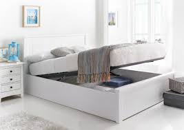 New England White Wooden Ottoman Storage Bed ...