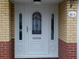 White Front Door With Sidelights For Modern Concept PVC Front Door