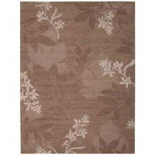 shadow leaves chocolate 6 ft x 7 ft area rug
