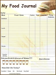 Sample Food Journal Template Calorie Spreadsheet Template Interestor Co