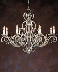 hand wrought iron chandelier in antiqued gold metal and silver metal leaf finish