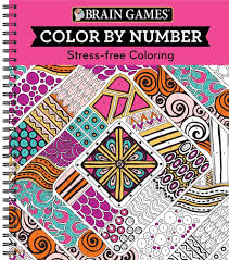 amazon brain games color by number stress free coloring pink 9781680227727 editors of publications international ltd books