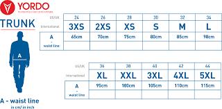 Swim Trunk Size Chart Size Chart
