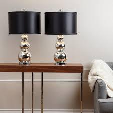 living room lamp set abbyson mercury glass black shade