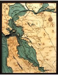 Woodcharts San Francisco Bay Area Lg Bathymetric 3 D Wood Carved Nautical Chart