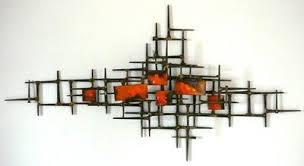 surprising design mid century metal wall art modern house vintage sculpture nails orange enamel abstract on vintage enamel wall art with mid century metal wall art turbid fo
