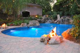 Relaxing Patio Swimming Pool With Slide Ideas