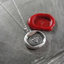 now and always wax seal necklace with rose bouquet antique french wax seal jewelry