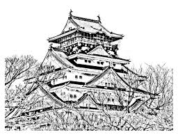 Small Picture Temple of the cherry blossom season japan Japan Coloring pages