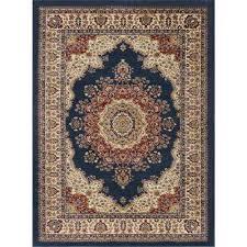 sensation navy blue 5 ft x 7 ft traditional area rug