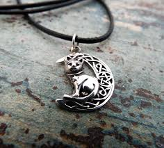 cat moon pendant silver handmade necklace pentagram sterling 925 witch necklace celtic jewelry pagan protection symbol