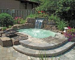inground pools with waterfalls and hot tubs. Inground Hot Tub With Waterfall And Fire Pit Pools Waterfalls Tubs