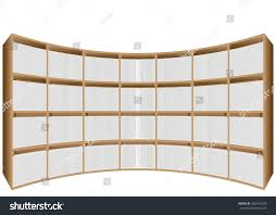white office bookcase. Bookshelves. Office Bookcase With White Books Or Brochures On The Shelves.  Background For Presentation Office
