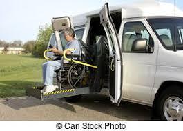 wheelchair lift for van. Handicapped Man Using A Wheelchair Lift To Enter Van For