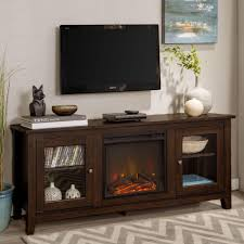 we furniture 58 wood media tv stand console with fireplace