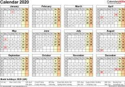 Year At A Glance Calendar 2020 Printable Excel Calendar 2020