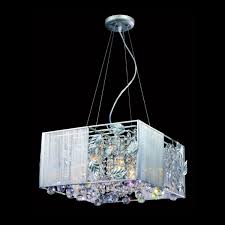 matt silver square shade with asfour crystal