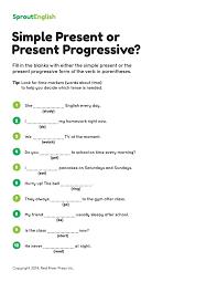 Simple Present Vs. Present Progressive – Grammar Worksheet ...