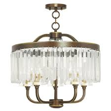 livex lighting ashton 5 light hand painted palacial bronze convertible chandelier with clear crystals shade