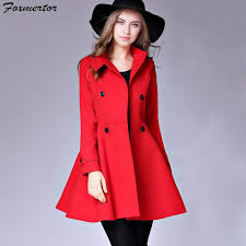 2019 new warm wool blends coat women 2018 high street winter coat female lapel red trench outwear wool pocket overcoat cashmere from dalivid